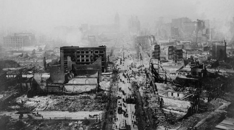 This is a historic photo of the San Francisco earthquake of 1906. Credit USGS Earth Observatory.