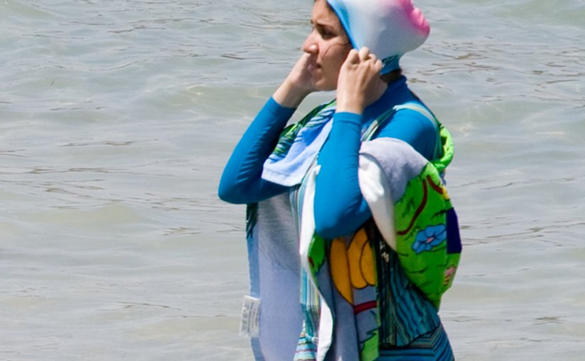 Woman in a burqini. Photo by Giorgio Montersino, Wikipedia Commons.