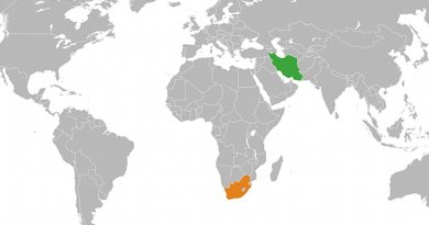 Locations of Iran (green) and South Africa. Source: Wikipedia Commons.