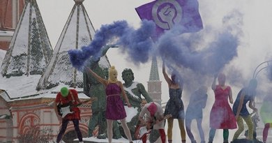Pussy Riot performing at Lobnoye Mesto in Red Square, on January 20, 2012, Credit: Wikimedia Commons.