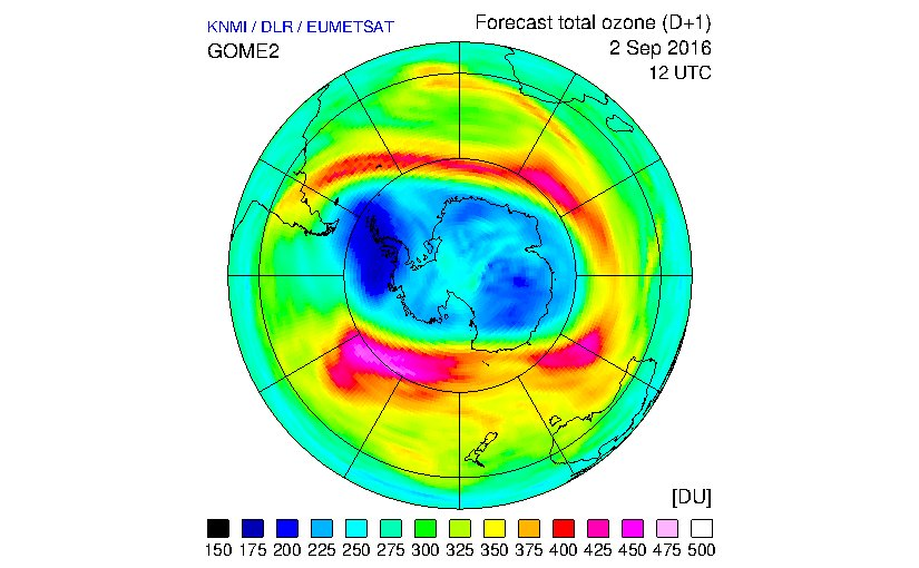 Measurements from GOME-2, together with information from model runs, provide a forecast for 2 September of the total column amount of ozone over the South Pole. Compared to other regions on Earth, meteorological conditions there favour faster ozone depletion at this time of year and this is clear from the blue and dark blue coloured areas, which are considered low levels of ozone.