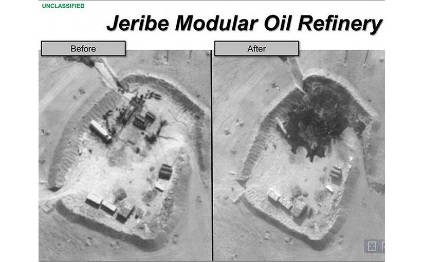 U.S. airstrike against ISIL's Jeribe modular oil refinery, September 2014. Photo Credit: DoD, Wikipedia Commons.