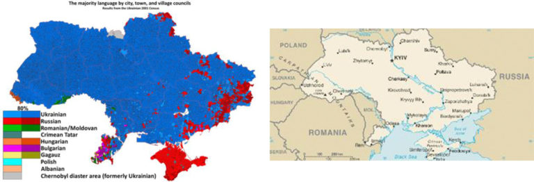 Ethno-Linguistic & Geographic Ukraine (Sources: (left) Eurasian Geopolitics & (right) United States Central Intelligence Agency)