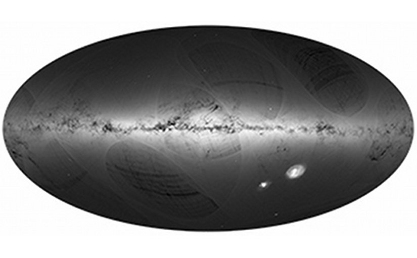 A high spatial resolution sky map based on observations by the European Space Agency's astrometry mission Gaia. The different shades of grey show the number of sources detected per unit area. The lightest areas typically correspond to 500,000 sources per square degree (roughly the size of the object Omega Cen near the center of the map). The Galaxy is clearly visible, while the dark regions where few sources are detected show, with excellent resolution, the clouds of gas and dust that absorb starlight. The striations and large, more or less oval structures are caused by Gaia scanning the sky over a period of 14 months, and will disappear in subsequent versions. © ESA/Gaia/DPAC. Image generated by: André Moitinho & Márcia Barros (CENTRA - University of Lisbon) on behalf of DPAC.