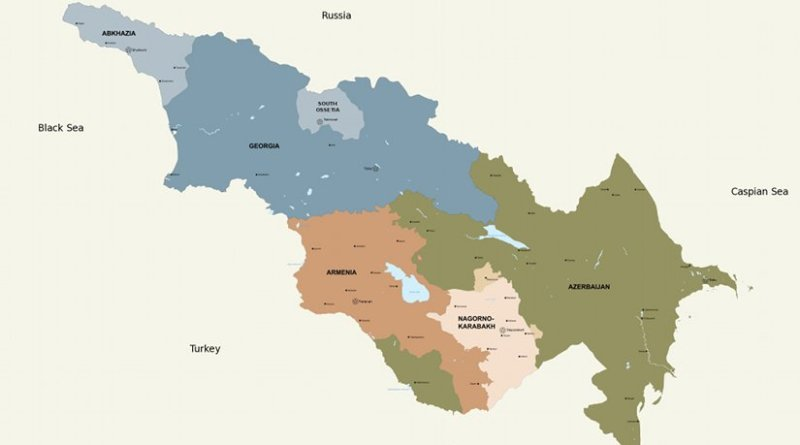 Map of the Republics and Major Regions of the Southern Caucasus
