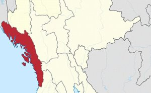 Location of Rakhine State in Myanmar. Source: Wikipedia Commons.