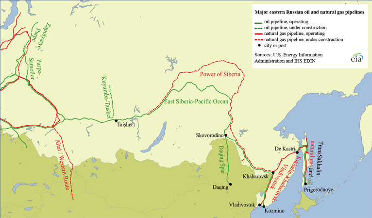 Major Eastern Russian Oil And Natural Gas Pipelines Source U S Energy Information