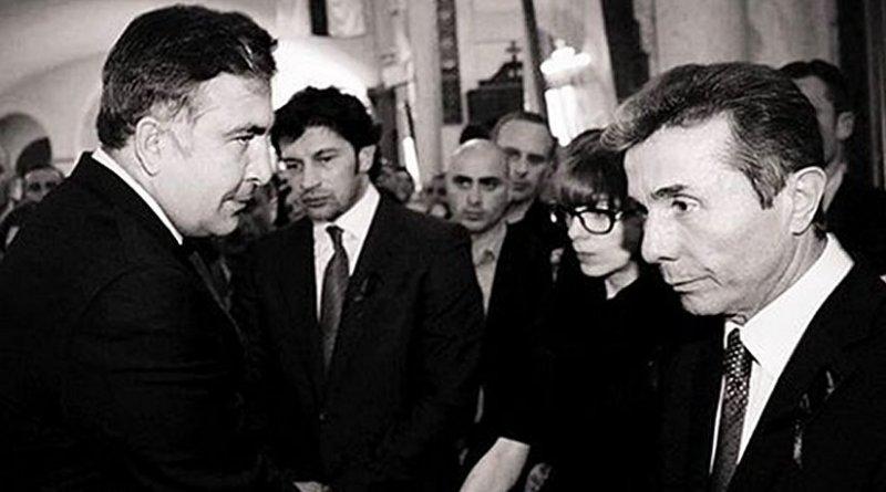 Georgia's Mikheil Saakashvili (left) with Bidzina Ivanishvili (right) (Source: Voice of America)