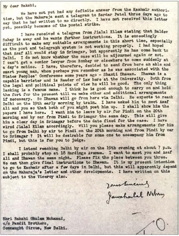 Nehru's letter to Bakshi Ghulam Mohammed, July 16, 1946