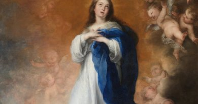 The Virgin Mary, La Purísima Inmaculada Concepción by Bartolomé Esteban Murillo, 1678, now in Museo del Prado, Spain. Source: Wikipedia Commons.