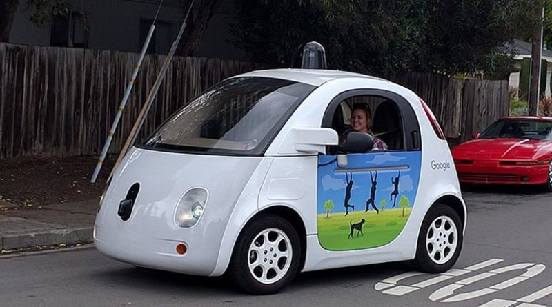 A Google self-driving car. Photo by Grendelkhan, Wikipedia Commons.