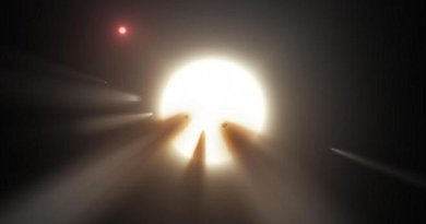This artist's conception shows a star behind a shattered comet. One of the theories for KIC 8462852's unusual dimming is the presence of debris from a collision or breakup of a planet or comet in the star's system, creating a short-term cloud that blocks some starlight. Credit Image is courtesy of NASA/JPL-Caltech.