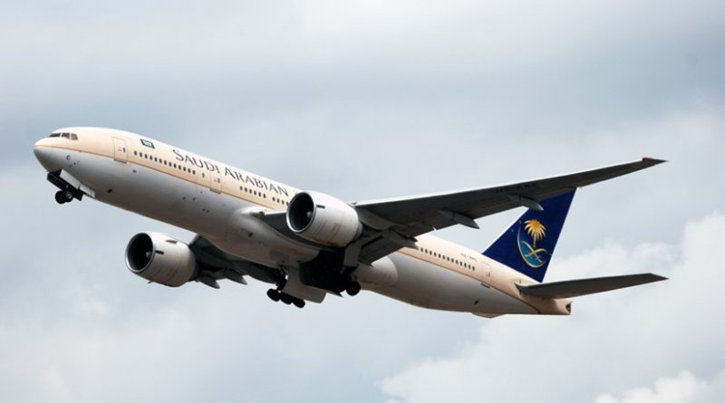 Saudia Boeing 777-200ER. Photo by Allen Watkin, Wikipedia Commons.
