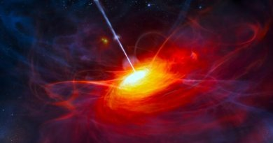 An artist's impression shows a very distant quasar powered by a black hole with a mass two billion times that of the Sun. Credit ESO/M. Kornmesser