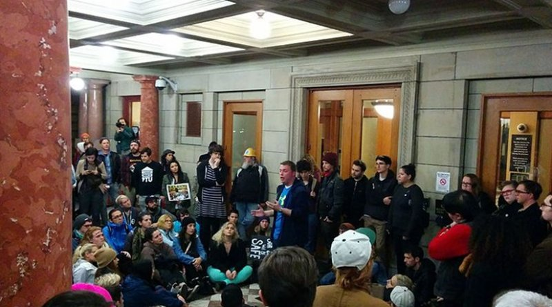 Demonstrators at Portland City Hall on November 11, 2016. Photo by Pete Forsyth, Wikipedia Commons.