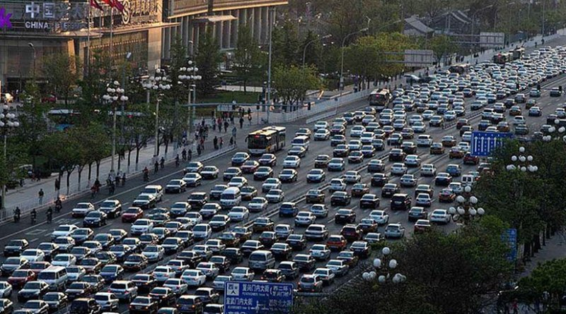 Traffic in Beijing, China. Photo by Australian Cowboy, Wikipedia Commons.