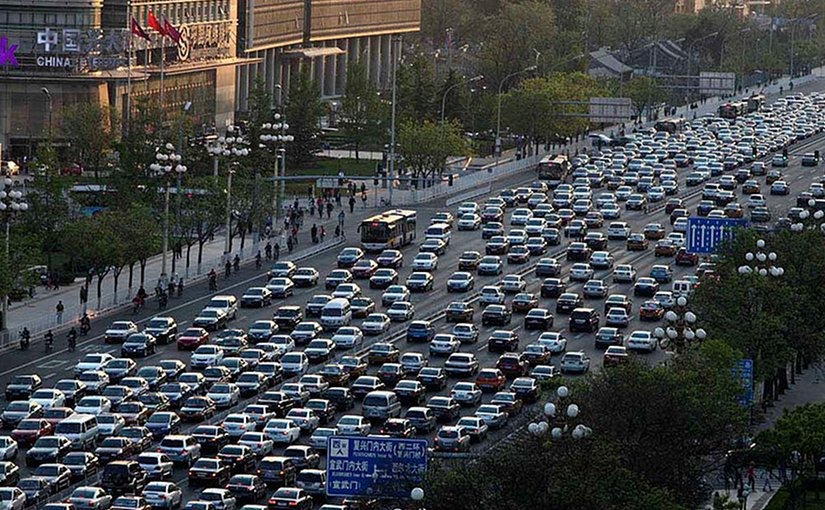 Traffic in Beijing, China. Photo by Australian Cowboy, Wikipedia Commons.