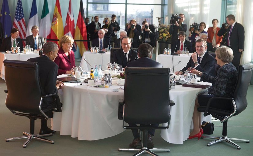 US President Barack Obama with Germany's Chancellor Angela Merkel, France's President François Hollande, Italy's Prime Minister Matteo Renzi, Spain's PM Mariano Rajoy, and United Kingdom's Prime Minister Theresa May. Photo Credit: Spanish Government, https://twitter.com/marianorajoy