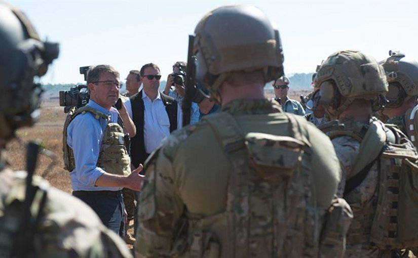 Defense Secretary Ash Carter speaks with Air Force special operators during a visit to Eglin Air Force Base, Fla., Nov. 17, 2016. It was the last stop on a three-state trip to meet with troops and assess readiness and effectiveness of training and equipment. DoD photo by Army Sgt. Amber I. Smith