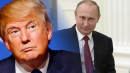 Donald Trump and Vladimir Putin. Photo montage from Wikipedia Commons sources.