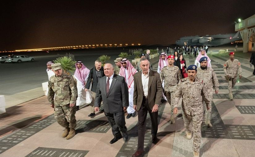 Saudi and American officers escort Marine Corps Gen. Joe Dunford from his C-17 after he arrived in Riyadh, Saudi Arabia, Nov. 7, 2016. The general will meet with U.S. and Saudi officials for discussions about issues of mutual concern. DoD photo by D. Myles Cullen