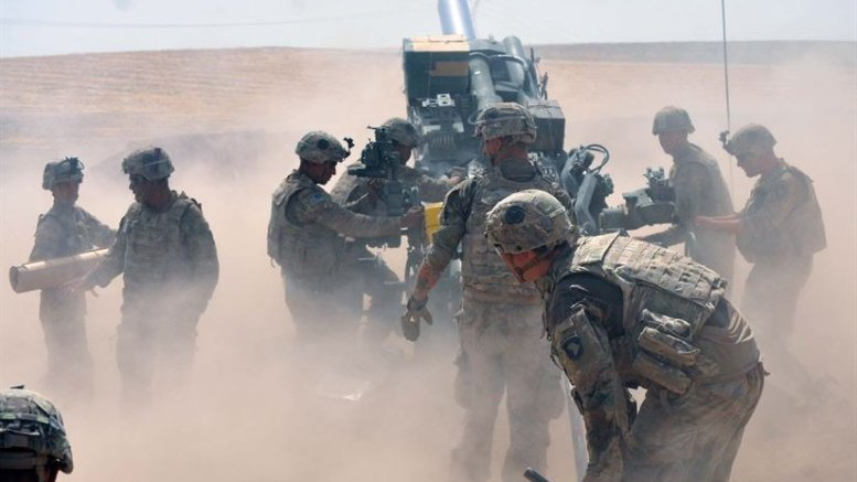 Soldiers with Battery C, 1st Battalion, 320th Field Artillery Regiment, Task Force Strike, begin their crew drill to load another round for a fire mission in northern Iraq, Aug. 15, 2016. The 526th Brigade Support Battalion's Support Operations Cell and the 336th Combat Support Sustainment battalion's movement control team in Erbil have sustained operations like this one, which are critical to defeat the Islamic State of Iraq and the Levant. Army photo by 1st Lt. Daniel I. Johnson