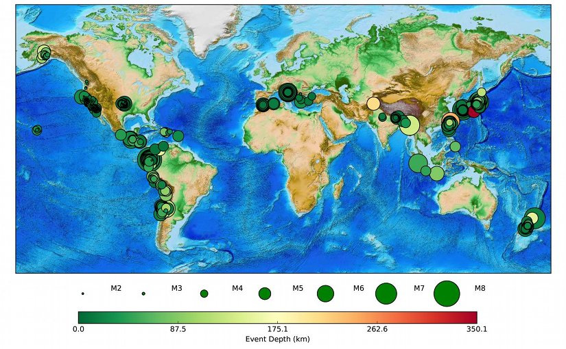 From Feb. 12, 2016 -- the release date of the MyShake app -- until Dec. 1, 2016, 395 earthquakes with confirmed waveforms were detected by MyShake users around the world. Credit Berkeley Seismological Laboratory