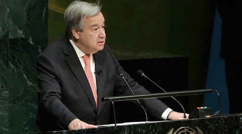 António Guterres, Secretary-General-designate of the United Nations, speaks to the General Assembly immediately after taking the oath of office for his five-year term which begins on 1 January 2017. UN Photo/Evan Schneider
