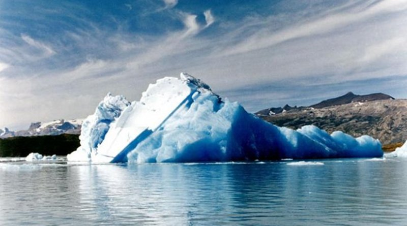 Water is unlike other substances because its solid form -- like this iceberg -- is less dense than its liquid form -- like this ocean. Scientists are studying other weird properties of water. Credit Wikimedia commons https://commons.wikimedia.org/wiki/Iceberg#/media/File:SantaCruz-LosGlaciares-Tempano02.jpg CC BY-SA 3.0. File: SantaCruz-LosGlaciares-Tempano02.jpg.