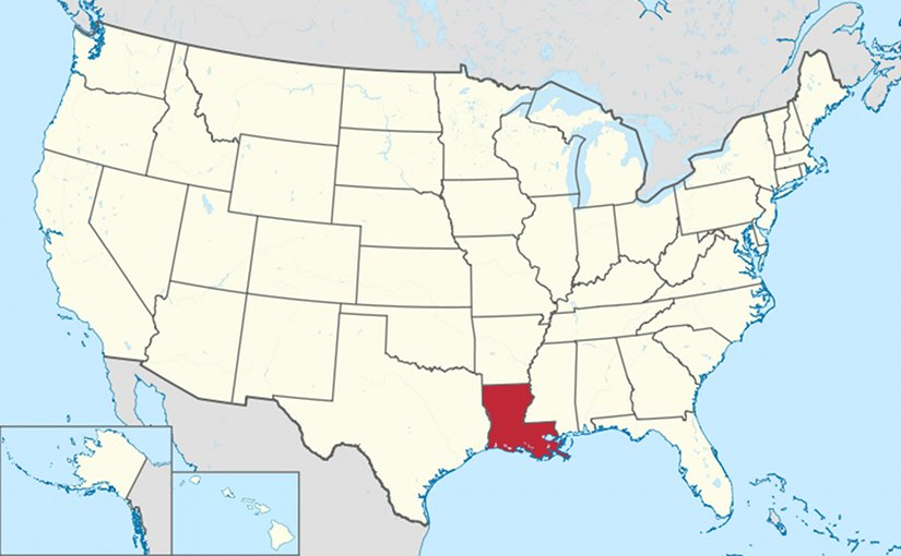 Location of Louisiana in the United States. Credit: Wikipedia Commons.