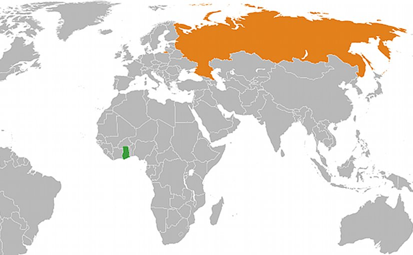 Locations of Ghana and Russia. Source: Wikipedia Commons.