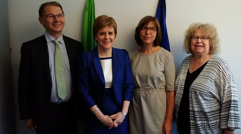 First Minister of Scotland, Nicola Sturgeon meets with MEPs to discuss Scotland's future relationship with the EU. Photo by Rebecca Harms, Wikipedia Commons.