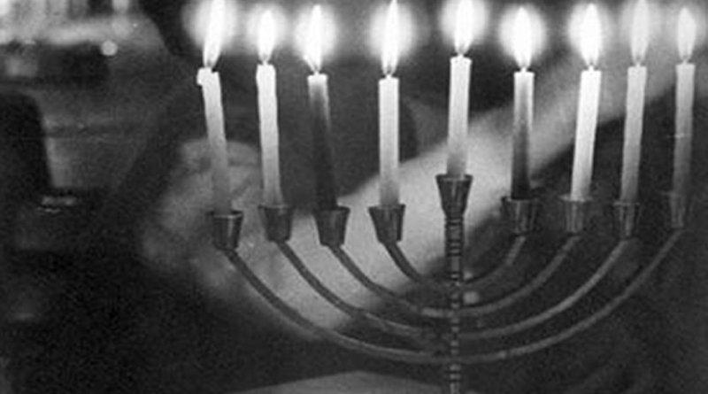 Menorah. Edited photo from Hashomer Hatzair Archives Yad, Wikipedia Commons.