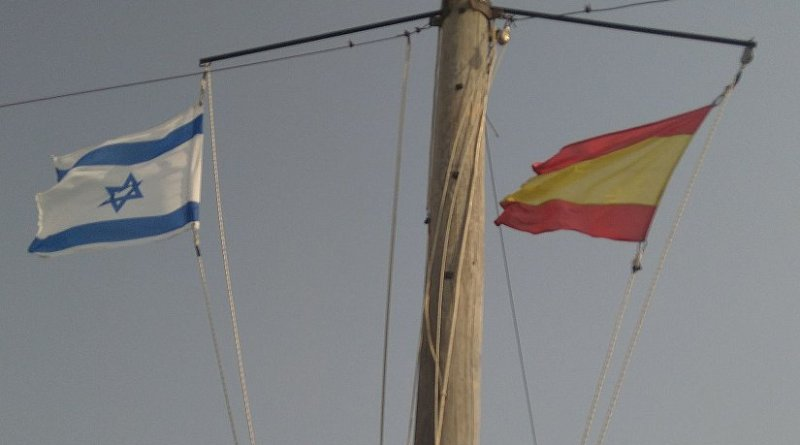 Flags of Israel and Spain. Photo by Amperio, Wikipedia Commons.