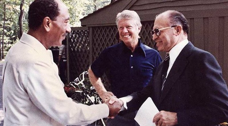 Israel's Menachem Begin, US' Jimmy Carter and Egypt's Anwar Sadat at Camp David. US govt. archives, Wikipedia Commons.
