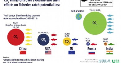 """An infographic capturing carbon dioxide emissions over a decade and their effects on the catch potential of fisheries, by country. This material relates to a paper that appeared in the Dec.23, 2016, issue of Science, published by AAAS. The paper, by W.W.L. Cheung at The University of British Columbia in Vancouver, BC, Canada, and colleagues was titled, """"Large benefits to marine fisheries of meeting the 1.5°C global warming target."""" Credit Lindsay Lafreniere"""
