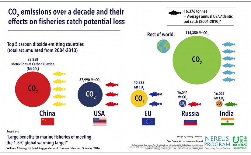 "An infographic capturing carbon dioxide emissions over a decade and their effects on the catch potential of fisheries, by country. This material relates to a paper that appeared in the Dec.23, 2016, issue of Science, published by AAAS. The paper, by W.W.L. Cheung at The University of British Columbia in Vancouver, BC, Canada, and colleagues was titled, ""Large benefits to marine fisheries of meeting the 1.5°C global warming target."" Credit Lindsay Lafreniere"