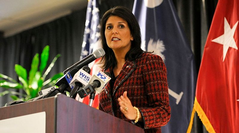 Nikki Haley. Photo by Staff Sgt. Jorge Intriago, DoD, Wikipedia Commons.