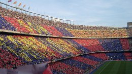 FC Barcelona's stadium Camp Nou. Photo by DJ Lucifer, Wikipedia Commons.