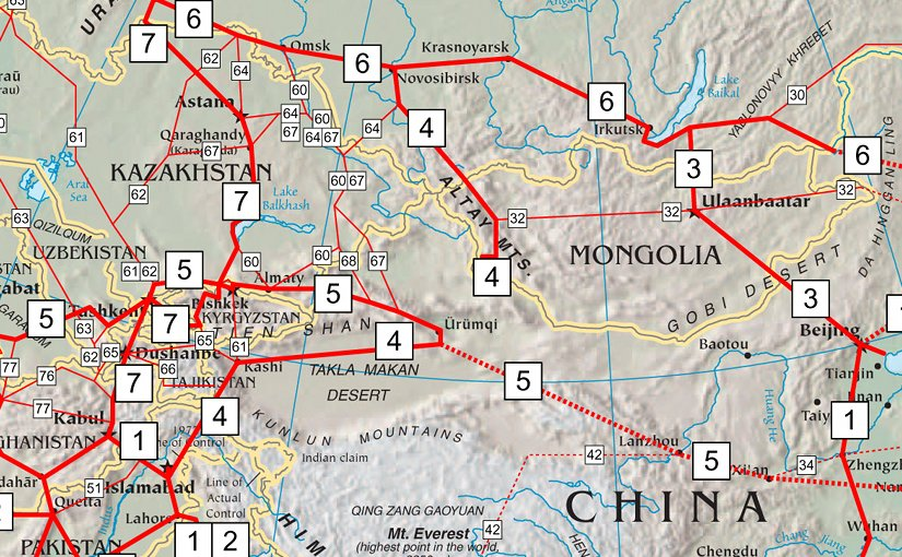 Asian Highway Network. Source: Wikipedia Commons.