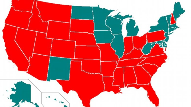 A map showing the use of the death penalty in the United States by individual states. States in red allow the death penalty. Source: Wikipedia Commons.