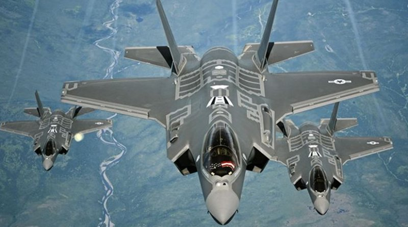 F-35A Lightning II aircraft, similar to the first two stealth fighters that arrived in Israel Dec. 12, 2016, receive fuel from a KC-10 Extender from Travis Air Force Base, Calif., July 13, 2015, during a flight from England to the United States. Air Force photo by Staff Sgt. Madelyn Brown