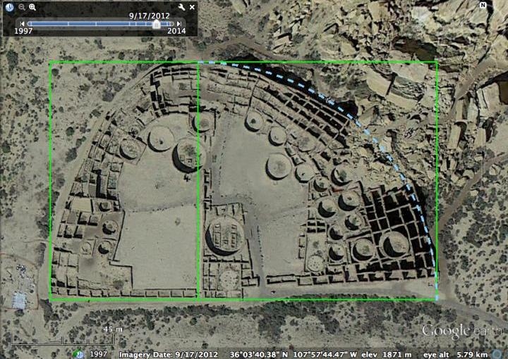 This is a satellite photo of Pueblo Bonito archaeological site with illustrations demonstrating its geometrical properties. Credit Dr. Sherry Towers