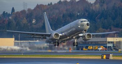 The British Royal Air Force is purchasing nine Boeing P-8A Poseidon maritime patrol aircraft to be based in RAF Lossiemouth, Scotland. Pictured here, a P-8A Poseidon aircraft departs Boeing Field in Seattle, heading to Naval Air Station Jacksonville, Fla., Nov. 20, 2014. The aircraft joined other Poseidon aircraft as part of the War Eagles of Patrol Squadron 16, the Navy's first operational P-8A squadron. This flight marked the delivery of the 19th long-range maritime patrol aircraft to the Navy. The multi-mission aircraft, based on the next-generation Boeing 737-800 platform, provides anti-submarine warfare, anti-surface warfare, intelligence, surveillance and reconnaissance capabilities, and will replace the Navy P-3 Orion fleet. U.S. Navy photo