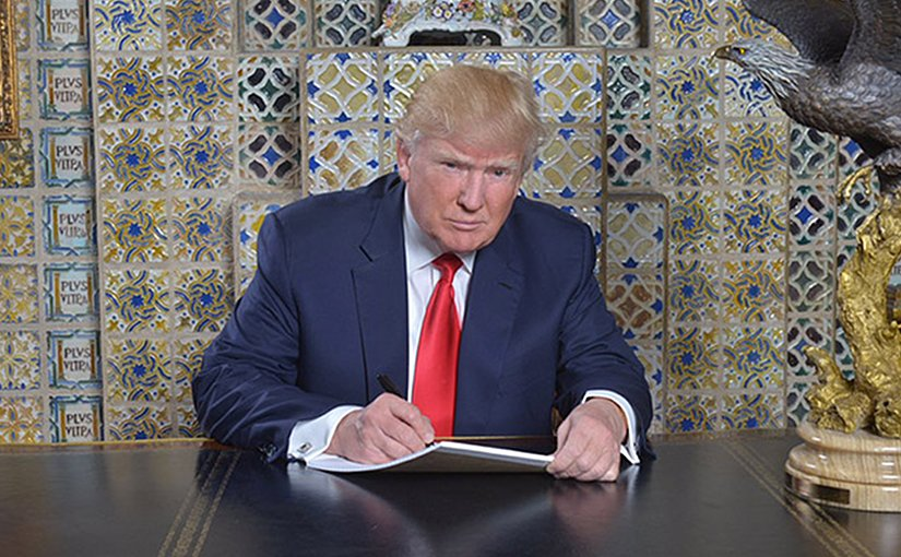 President Trump writing his inaugural address at the Winter White House Source: Donald Trump