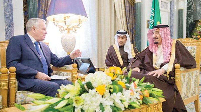 Saudi Arabia's King Salman meets France's Jean-Marc Ayrault. Photo Credit: SPA