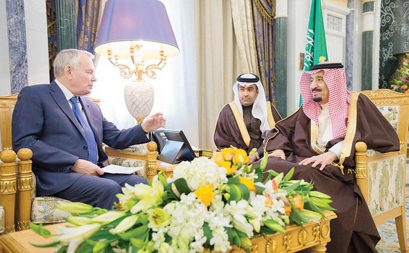 Saudi Arabia's King Salman meets France's Jean-Marc Ayrault. Photo Credit: SPA