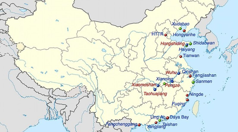 Nuclear power plants in China: Red - Active plants; Green - Under construction plants; Blue - Firmly planned plants. Source: Wikipedia Commons.