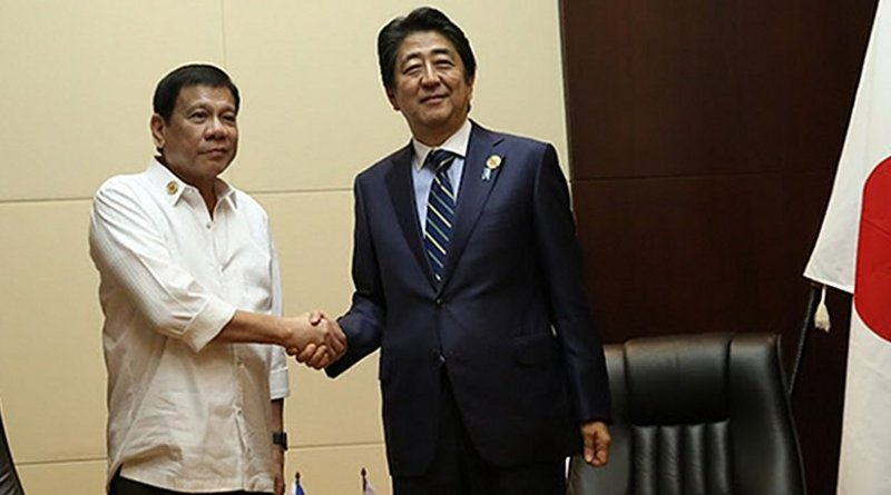 The Philippines' Rodrigo Duterte meeting with Japanese Prime Minister Shinzō Abe. Photo by King Rodriguez - Presidential Communications Operations Office, Wikipedia Commons.