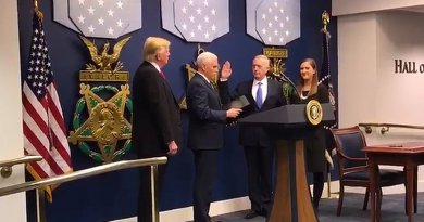 US President Donald Trump observers as VP Mike Pence swears in Gen. James Mattis as Secretary of Defense. Credit: Screenshot from Pentagon video.